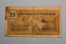 25 CENTIMS CONSELL MUNICIPAL DE PUIG-ALT DE TER 1937 BANKNOTE SPAIN CIVIL WAR