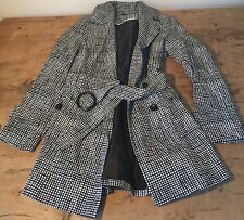 BLACK AND WHITE CHECK ALL WEATHER MAC COAT - UK8 BUST 36""