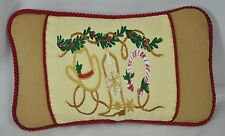 Western Christmas Embroidered Pillow made w Ralph Lauren Cream Tapestry Fabric
