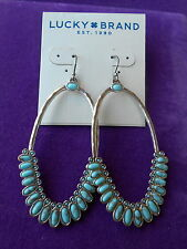 Lucky Brand Authentic NWT Silver-Tone Multi-Stone Drop Hoop Earrings