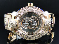 Mens Aqua Master Rose Gold Stainless Steel 3D Band Genuine Diamond Watch W#96
