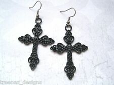 *JET BLACK FILIGREE CROSS* Gothic Earrings Dita Madonna HALLOWEEN FANCY DRESS