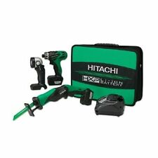 Hitachi KC10DBL 10.8V Li-Ion 3-Tool Combo Kit Drill/Driver, Recip Saw, Light