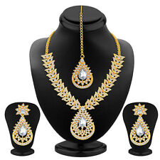 Sukkhi Marquise Gold Plated AD Necklace Set(2181NADM1290)