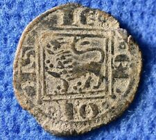 Crusaders times Nice Medieval Christian coin with Castle & Lion.