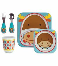 NWT NEW SKIP HOP Moose Zoo BPA Free Tableware Set Plate Cup Bowl Fork Spoon