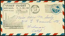 1929 FIRST FLIGHT SPOKANE, WA TO WILMAR, CA -  UC1 POSTAL STATIONERY(ESP#1146)