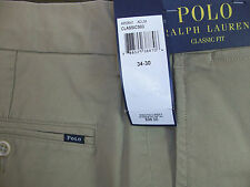 NWT Polo Ralph Lauren Flat Front Classic Fit Stretch Chino Twill Khaki Pants $98