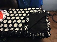 "Black Hand tied No Sew knot Volleyball Sport Fleece Blanket 74""x54"" 2layered"