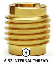 E-Z Lok P/N 400-006, 6-32 Threaded Brass Insert For Wood  (10 Pieces)