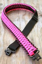 Adjustable Paracord Gun Rifle Sling Strap With Swivels Black & Neon Pink