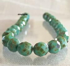 Turquoise Picasso Fire Polished Czech Glass Beads 8mm 20 Faceted Round