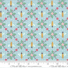 BY 1/2 YD~BUMBLE BERRIES~MODA FABRIC~25093-17~HONEY BEES ON SKY BLUE~JUNGS