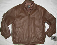 New Mens Jos A Bank Lambskin Leather Bomber Jacket Coat Size Large Brown