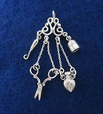 Sterling Silver Sewing Chatelaine Pendant Victorian Doll Accessory Scissors