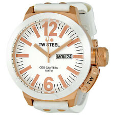 TW Steel CEO Canteen 50 MM White Dial White Leather Strap Mens Watch CE1036
