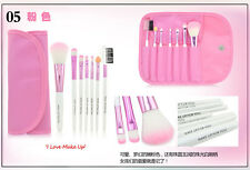 Makeup Cosmetics 7 Pc Travel Brush Brushes Set Kit