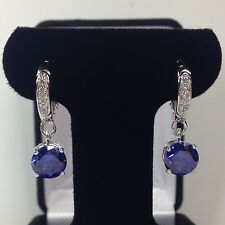 GORGEOUS 6ct Tanzanite & Sterling Silver Leverback Earrings Dangle Rhodium NWT