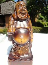 Hand Carved Wood box  Sculpture statue Good Luck  Laughing Buddha.12'' x 5''