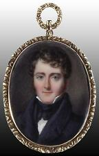English School Fine Antique Miniature Watercolour Portrait Painting of a Gent