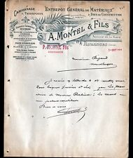 "AUZANCES (23) MATERIAUX de CONSTRUCTION & TRANSPORT ""P. MONTEL Fils"" en 1911"