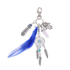 Fashion Silver Dreamcatcher Boho Jewelry Feather Tassel Keychain For Women Gift