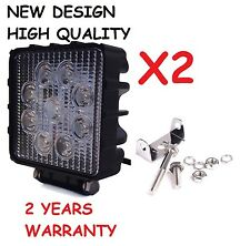 2 PC 27W Square SPOT LED Work Light Bar Fog Driving Lamp Truck Tractor SUV 9 LED