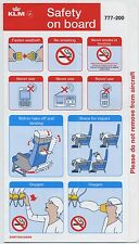 KLM Boeing 777-200 safety card AUG2008 - good cond sc579ax