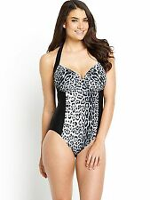 Resort Tummy Control Black Animal Print Swimsuit Swimming Costume 32DD BNWT