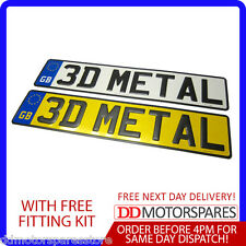 2 x METAL PRESSED 3D EMBOSSED CAR NUMBER PLATES REGISTRATION ALUMINUM WITH GB
