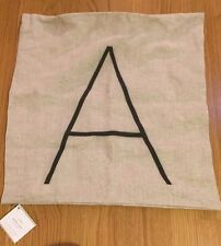 """NEW Pottery Barn Personalized Alphabet Linen 18"""" Pillow Cover """"A"""""""