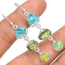 Czech Moldavite & Aquamarine & Opal Rough 925 Sterling Silver Earrings Jewellery