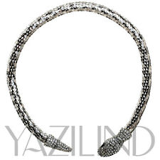 Fashion women Black Eyes Silver Plated Snake Crystal Collar Necklace Jewelry