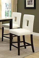 """White Leather Bonded Counter Height Stools Set of 2  High Chairs Bar Stools 24"""""""