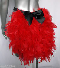 FEATHER BUSTLE WITH BOW. BURLESQUE, SHOW GIRL. RED