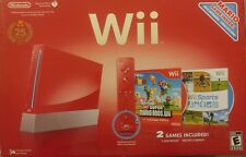 FRENCH Nintendo Wii Red Console Bundle Wii Sports + Super Mario Bros New READ