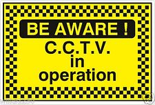 2x Be Aware CCTV in operation stickers Alarm warning security Camera sign decals