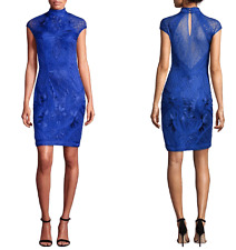 $398 SUE WONG Blue Sapphire Sheath Cap Sleeve Embroidered Tulle Lace Dress  8- M