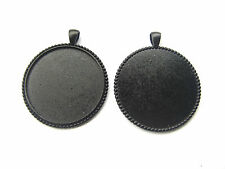 10 Dark Black 40mm Round Large Pendant Trays Blank Bezel Cameo Cabochon Setting
