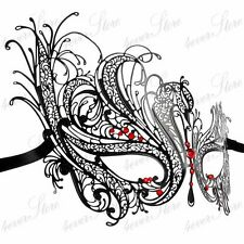 Women Swan Metal Mardi Gras Venetian Masquerade Mask with Red Rhinestones