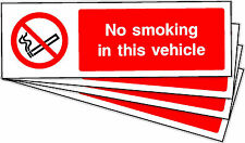 NO SMOKING IN THIS VEHICLE SELF ADHESIVE STICKERS LABELS SIGNS X 10