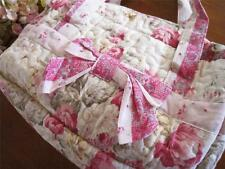 Pretty Pink Rose Bow Pocket Zipper Closure Cotton Quilted Tote Should Bag