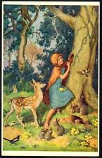 Postcard Girl Deer Rabbits - Friends of the Woodland- Margaret Tarrant - Medici