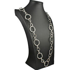 Fashion jewellery silver large odd shape round link 115 cm long length necklace
