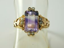 Ametista & Perla Antico Francese BELLE EPOQUE Anello BELLISSIMO Amethyst 2,42 CTS