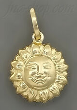 14K Gold 3D Sun w/Smiling Face Design on Both Sides Charm Pendant