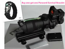 ACOG Style 4x32 Real Fiber Scope with Mini Red Dot for Airsoft Hunting Shooting