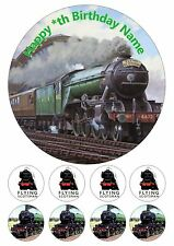 "Flying Scotsman Steam Train Personalised Iced Cake Topper 7.5"" + 8 Cupcake Tops"
