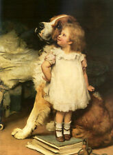 "Stunning lovely Oil painting little girl with her pet dog - who is taller 24""x36"