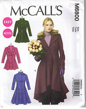 Easy Flared Coats Belt Detachable Collar Hood McCall Sewing Pattern 6 8 10 12 14
